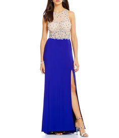 Blondie Nites Bead Encrusted Illusion Bodice Long Dress