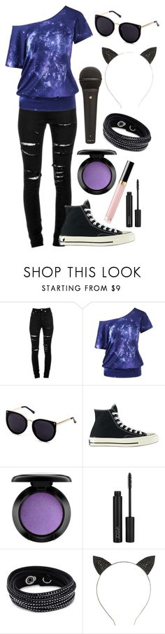 """""""-Force Of Lightning-"""" by kbelle28 ❤ liked on Polyvore featuring Yves Saint Laurent, Converse, MAC Cosmetics, Swarovski and kittensong"""