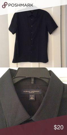 Banana Republic slim fit short sleeve black shirt! Brand new! Mint condition! Neck 16-161/2 Banana Republic Shirts Casual Button Down Shirts