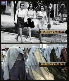 1972 vs 2012 Afganistan- In this day and age it is revolting to realise how far womens rights have been repressed,
