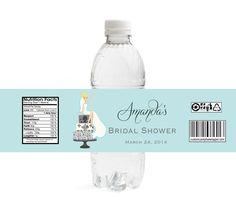 Bride on Cake Bridal Shower Water Bottle Labels