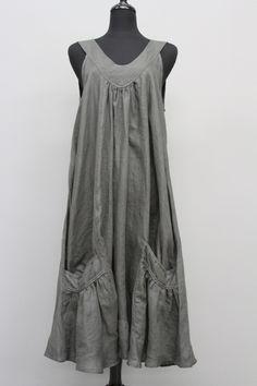 CHAMPAGNE LINEN SLEEVELESS POCKET DRESS