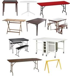 No matter how small your apartment, there will probably come a time when you'll want to entertain. And whether it's a dinner party or simple cocktails, having an extra table stashed away can be ever so helpful. The folding tables on this list are various sizes — small enough for poker games and little soirees to large enough for dinner for eight.