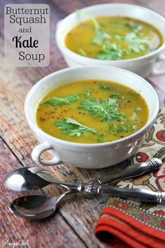 This recipe for Butternut Squash Soup is made with added kale. It's a comforting low fat, vegetarian soup. Nutritional information and WW Points included.