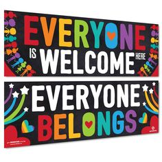 """Includes 2 Banners as shown in the picture each measuring 13.5""""x39"""". Printed on 100lb poster paper for the brightest and boldest colors. Useful in the home as wall art or as classroom decorations and bulletin boards. Designed with preschool & elementary school ages in mind - perfect for daycares, libraries, learning centers, and after school programs. Bold color, simple & modern design stands out. Love it, or your money back within 30 days! Diversity Bulletin Board, Colorful Bulletin Boards, Summer Bulletin Boards, Classroom Bulletin Boards, Multicultural Bulletin Board, Bulletin Board Sayings, Rainbow Bulletin Boards, School Welcome Bulletin Boards, Counselor Bulletin Boards"""