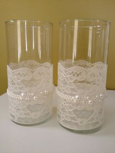 Lace and Pearl Wrapped Votive Holders (Victorian, Shabby Chic Feel) set of two. $45.00, via Etsy.