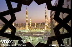 A peek-through view of the magnificent local architecture surrounding the #Madinah #Hilton at sunset.