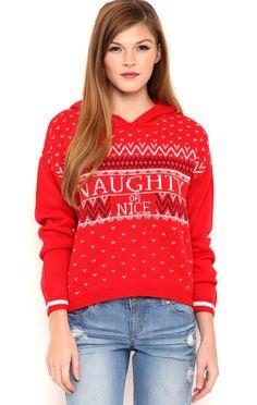 Deb Shops Long sleeve fairisle hooded naughty or nice pullover sweater $14.75
