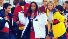 Aaliyah in center with Kidada Jones to her left and Kate Hudson on her right for a Tommy Hilfiger Ad.