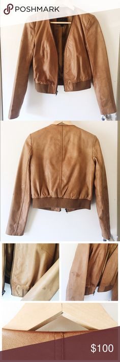 French Connection Genuine Leather Jacket US/4 Luggage color genuine leather jacket by French Connection. Size US/4 UK/8 slight stains on sleeves of jacket French Connection Jackets & Coats