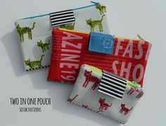 Two in One Zipper Pouch PDF  sotakhandmade $8.00