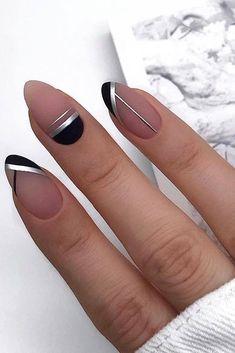- Nail Art - Simple Line Nail Art Designs You Need To Try Now line nail art design, minim. Simple Line Nail Art Designs You Need To Try Now line nail art design, minimalist nails, simple nails, stripes line nail designs. Line Nail Designs, Black Nail Designs, Simple Nail Art Designs, Easy Nail Art, Cool Nail Art, Elegant Nail Designs, Simple Art, Cute Nails, Pretty Nails