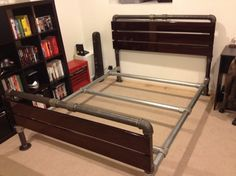 :BUILD: Industrial bed frame build by Josh from Nerd Wallet. This bed frame was deigned to be a part of a larger industrial bedroom.