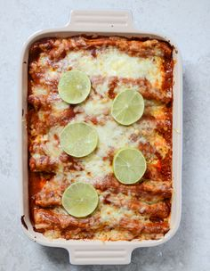 Spicy Beer Braised Lime Chicken Enchiladas // howsweeteats.com