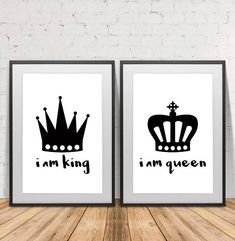 King and Queen, King, Queen, Crown Print, Couple Poster, Couple Print, Scandinavian, wall art, Wall Decor, Instant Download, Home decor.