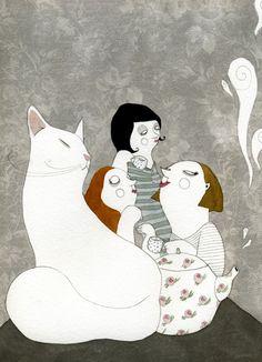 Amigas, charla, café y gato; ilustración de Beñat Olaberria