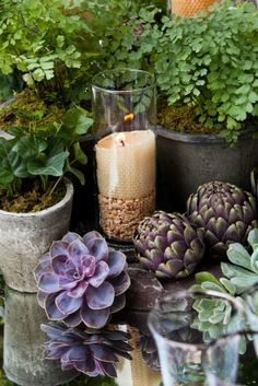 greenery centerpiece ideas Purple and Green Succulent Wedding Ideas