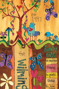 custom family name art pole by stephanie burgess of painted peace Family Name Art, Family Rules, Modern Birdhouses, Peace Pole, Garden Poles, Pole Art, Custom Art, Yard Art, New Art