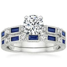 18K White Gold Vintage Sapphire and Diamond Matched Set, top view