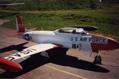 Lockheed T-33 Shooting Star trainer, at Ailes Anciennes Toulouse, France.