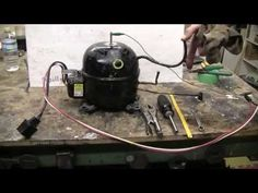 DIY - How To Make A High Pressure Air Setup From A Refrigerator - YouTube