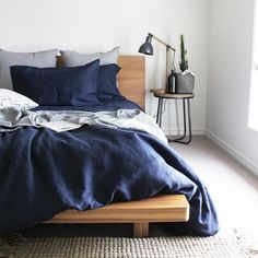 Navy Linen Duvet Cover