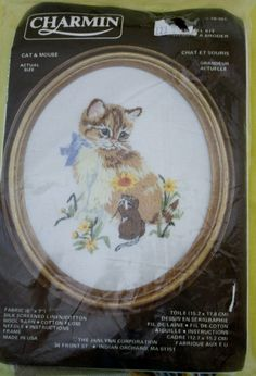 Charmin Cat & Mouse/Cat Crewel Kit/  NIP /Size 6 Inch Height Oval by BluetreeSewingStudio on Etsy