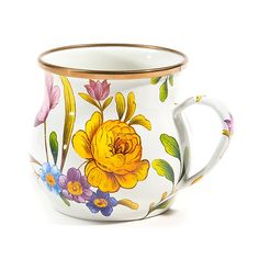 Flower Market Mug - White: Set a sunny table in glorious color, fresh from a country garden, with White Flower Market Mugs. The garden-fresh design is color-glazed and hand decorated enamelware with floral transfers. Mix and match colors or pair with Courtly Check® for a fun, fresh look, or for a bold arrangement, choose a single color for the entire table.