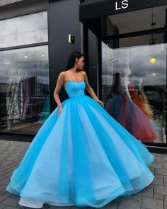 Ball Gown Sweetheart Floor-Length Organza Blue Turquoise Quinceanera Dress Sweet 16 Dresses for Girls Blue Ball Gowns, Ball Gown Dresses, Evening Dresses, Dress Up, Blue Gown Dress, Ball Gowns Prom, Dress Long, Dress Skirt, Sweet 16 Dresses