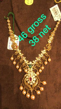 Beaded Jewellery, Gold Jewellery Design, Bridal Jewellery, Bridal Necklace, Gold Jewelry, Gold Necklace, Gold Designs, Gold Earrings Designs, Necklace Designs