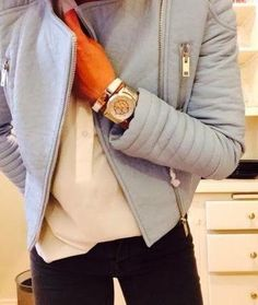 Zara pale/pastel blue leather jacket