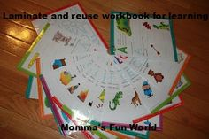 Laminated pages from a workbook, great to use at a learning center in the classroom.
