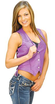 Woman's Purple Leather Vest with Side Lace