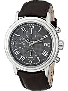 Raymond Weil Men's 7737-STC-00609 Maestro Analog Display Swiss Automatic Brown Watch ❤ Raymond Weil Raymond Weil, Swiss Made Watches, Display, Brown, Floor Space, Billboard, Brown Colors