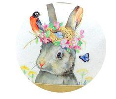 Rabbit in Flower Crown Shoulder Bag