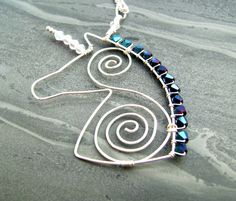 Mythical Crystal Unicorn Wire Pendant Necklace £24.00