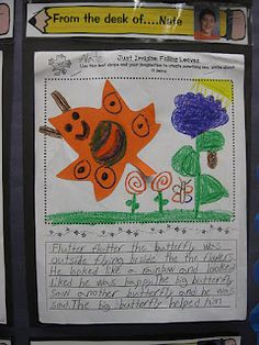 """Great writing activity for fall: use a leaf-shape template to imagine something new using that shape.  After drawing a picture of the new shape in its surroundings, the child then writes about it.  I like the """"Sound Effect Lead"""" this teacher taught with this writing project."""