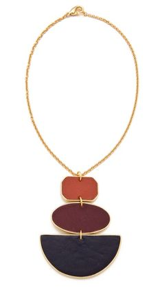 Sandy Hyun Geometric Three Drop Necklace (Navy Multi).