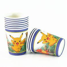 10pc/set Pokemon Go Pawed Patrol dog Mickey princess trolls Paper Cups Kids Birthday Party Drinkware Chirdren Cartoon Paper Cups