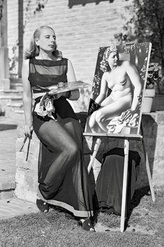 Art Deco Paintings, Art Deco Artists, Artist Art, Artist At Work, Falling Water Architecture, Beverly Hills, Tamara Lempicka, Painter Photography, Artists And Models