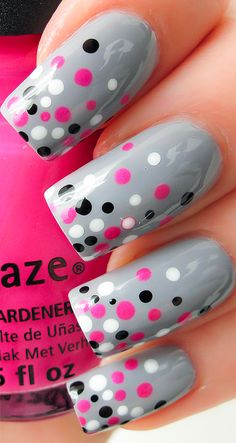 Gray Nails with Pink, White, and Black Dots