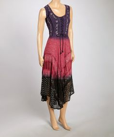 Look what I found on #zulily! Purple & Pink Lace-Up Maxi Dress #zulilyfinds