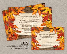 DIY Printable Fall Wedding Invitations And RSVP Cards With Leaves, Fall Wedding Invitation Set With Colorful Autumn Leaves On Wood