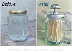 Apothecary jar out of Jam jar and knob idea from Jewels at home