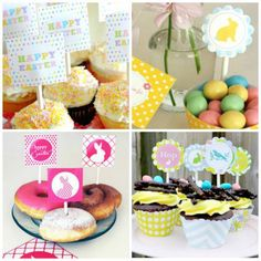 Easter Cupcake Toppers, Wall Decor and Dessert Tables, plus a Mini Topiary Easter Subday, April Easter, Easter Party, Easter Crafts, Happy Easter, Easter Ideas, Easter Stuff, Easter Food, Easter Worksheets