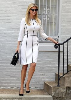 Extras: Ivanka accessorized with plain black pumps and a small black handbag with the white dress with black piping seams. June 14 sunglasses, shades, popular pin of Ivana, vertical piping adds interest to the white dress Work Fashion, Fashion Wear, Fashion Dresses, Fashion Tips, Mode Outfits, Office Outfits, Classy Dress, Classy Outfits, Ivanka Trump Style