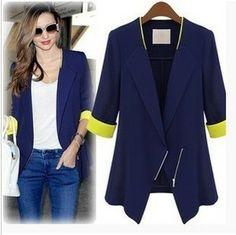 Free shipping ZA* WOMAN SUIT BLAZER FOLDABLE BRAND JACKET women clothes suit Zipper shawl cardigan Coat  blue,white S,M,L,XL6826