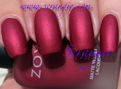 POSH (matte) from the 2013 WINTER REISSUE OF THE MATTE VELVET COLLECTION - ZOYA: Burgandy - red w/matte finish. (2 coats) NOTES: add a top coat for a different look. NO BASECOAT.