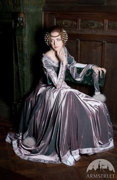 "Custom Renaissance Dress ""Lady Rowena""; velvet gown; medieval gown' ren gown on Etsy, $602.12 CAD"