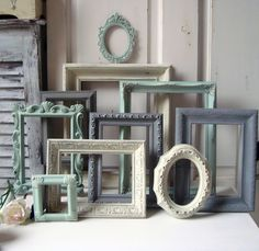 Mint Green and Gray Painted Picture Frames, Made to ORDER Set of 10 Vintage Frames, Sea Glass Green, Grey and Ivory Frames, Ornate Frames by WillowsEndCottage on Etsy https://www.etsy.com/listing/178742516/mint-green-and-gray-painted-picture